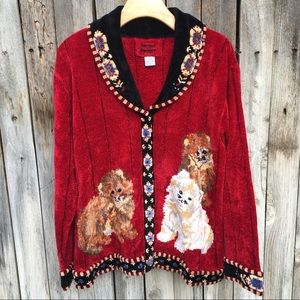 Vintage Cat Lady Cardigan Sweater Chenille Red L